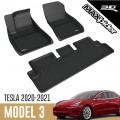 3D Maxpider Kagu Black Tesla Model 3 All Weather Floor Mats Liners 2020-2021